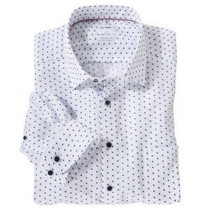 Olymp XXL Langarmhemd bügelfrei weiß Dobbymuster, Kragenweite:54