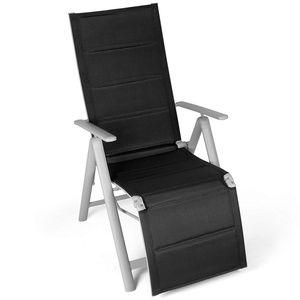Vanage Gartenstuhl Fußablage Klappstuhl Hochlehner Liegestuhl schwarz Aluminium