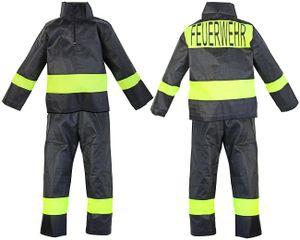 Kinder-Kostüm Feuerwehr-Mann Gr. 4 92 - 98 Feuerwehr-Kostüm Feuerwehr-Uniform Jacke Hose Fasching-Kostüm Karneval-Verkleidung THW Anzug zum Feuer-Löscher Feuerwehr-Helm