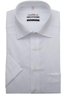 Marvelis Comfort Fit Hemd Halbarm Uni Popeline Weiß 7973/12/00, Größe: 45