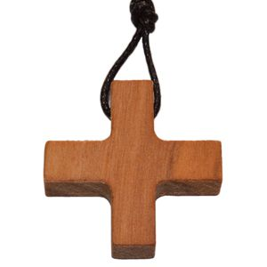 Gleichschenkliges Kreuz Anhänger - Griechisches Kreuz Olivenholz 2,4cm
