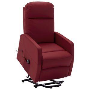Sessel mit Aufstehhilfe Weinrot Kunstleder