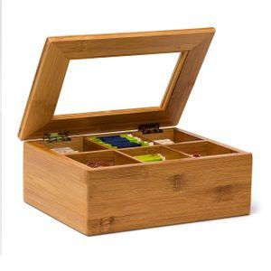 relaxdays Teebox Bambus lackiert 6 und 8 Fächer