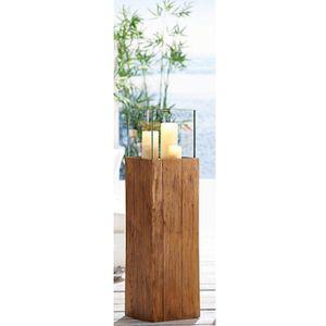 Bodenwindlicht Woody Kerzenhalter recyceltes Holz Wohnzimmerdeko Windlichtsäule, Größe:Klein 80 cm
