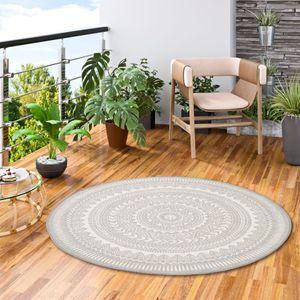 In- und Outdoor Teppich Flachgewebe Carpetto Grau Rund, Größe:120 cm Rund