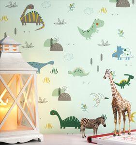 Kindertapete Kinderzimmer Grün   Kinder Fauna Natur Dinosaurier Pflanzen  Joliet Muster