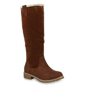Mytrendshoe Damen Winterstiefel Warm Gefütterte Stiefel Winter Boots Kunstpelz 818321, Farbe: Hellbraun, Größe: 37
