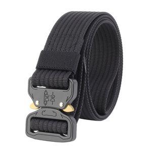 Armee Militär Taktischer Gürtel Tactical Belt Metallschnalle Nylon Webbing Belt 125cm mit Schnellverschluss Schwarz