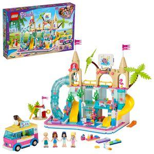 LEGO 41430 Friends Wasserpark von Heartlake City, Spielset mit Stephanie, Emma und Olivia Minipuppen, Sommerferien-Serie
