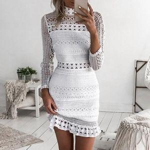 Frauen y Spitze Cocktail Party Bleistift Midi Kleid Bandage Kleider Größe:S,Farbe:Weiß