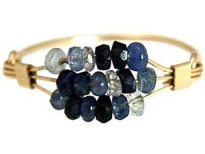 Damen Ring Vergoldet Saphir Blau Ringgröße:51 (16.2)