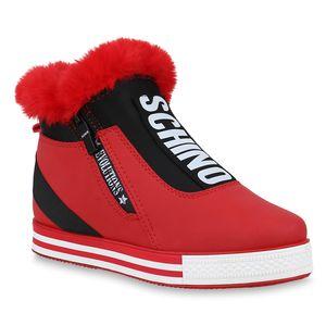 Mytrendshoe Damen Plateau Sneaker Warm Gefütterte Winter Turnschuhe Kunstfell 824589, Farbe: Rot, Größe: 40