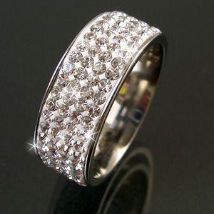 Ring Edelstahl Schmuck Fingerring mit Strass clear 17mm Edelstahlring Damen R519-17