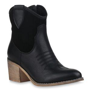 Mytrendshoe Damen Cowboy Boots Western Stiefeletten Stickereien Cowboystiefel 830055, Farbe: Schwarz, Größe: 36
