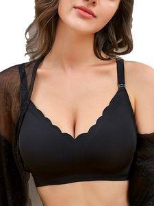 Ladies Non-Marking Upper Opening Bequeme Still-BH-Sportunterwäsche,Farbe: Schwarz,Größe:XL