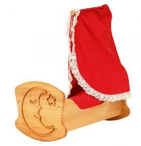 Drewart Puppenwiege aus Holz mit Bettzeug und Himmel 933 3072
