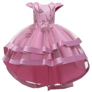 Kinder Partykleid Blumenmädchen Tüll Prinzessin Tutu Spitzen Hochzeit Abendkleid, Pink, 3-4 Jahre