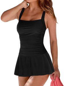 Damen Einteiliger Rock Monokinis Badeanzüge Badekleid Strandkleidung Push-up BH,Farbe:Schwarz,Größe:M