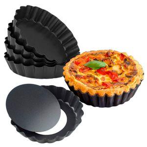 4Zoll Runde 6 Stück # Obstkuchenform, Backform für Leckere Obsttorten, Tarte- und Quicheform