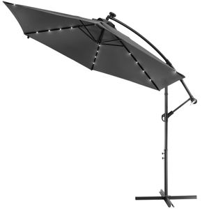 Sonnenschirm Ampelschirm 300cm Solar LED Beleuchtung Gartenschirm Kurbel wasserabweisend, Farbe:anthrazit