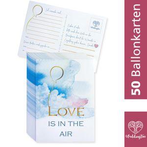 WeddingTree 50 Ballonkarten Hochzeit Vintage - Love is in the air Design - Gelocht