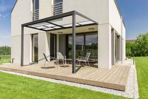 HOME DELUXE - Terrassenüberdachung Deluxe 400 x 300 x 218 / 272 cm Grau Terrassendach Überdachung mit Schiebedach