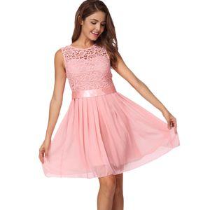 Neue Art und Weise Frauen-Chiffon- Spitze-Kleid Sleeveless O Ansatz Normallack-elegante Prinzessin Party-KleidL