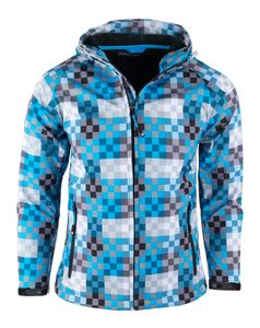 Kinder Jungen Softshelljacken Outdoor Jacken Softshell Jacke - Blau Kariert 164