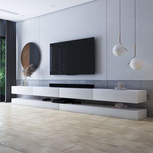 Selsey TV-Lowboard  HYLIA DOUBLE Weiß Matt/ Weiß Hochglanz 2x140 cm breit