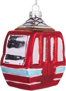 BRUBAKER Skigondel Rot - Handbemalte Weihnachtskugel aus Glas - Mundgeblasener Christbaumschmuck Figuren lustig Deko Anhänger Baumkugel - 10 cm