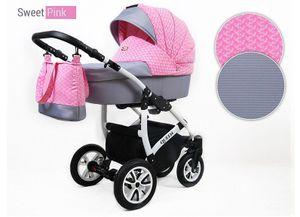 Kinderwagen Queen Alu, 3in1 Set Wanne Buggy Babyschale Autositz mit Zubehör pink