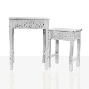 2er-Set Beistelltisch Holztisch Tisch Telefontisch Vintage Shabby Chic Ornament Weiss