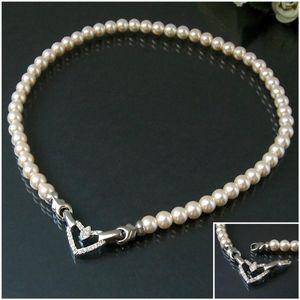 Perlencollier Kette Halskette 46cm Perlen creamweiß Herz Strass K77732