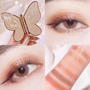 6 Farben Lidschatten-Palette,Schmetterling Lidschatten Perle Pailletten Glitzer Matte Make-up Platte Glitzer Lidschatten