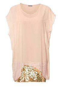 Ashley Brooke Damen Designer-Lagen-Longbluse mit Pailletten, rosé, Größe:36