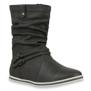 Mytrendshoe Damen Schlupfstiefel Sportliche Stiefel Boots Schnalle 70991, Farbe: Grau, Größe: 37