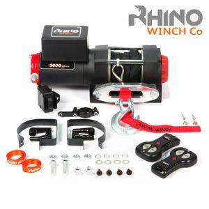 Rhino 12V Elektrische Seilwinde mit Fernbedienung und Mobilteil, Kunststoffseil/Synthetikseil - 3000lb/1360kg (Kunststoffseil, Schwarz)