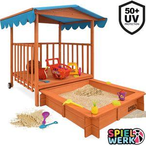 SPIELWERK Sandkasten mit Dach |überdachte Spielveranda|UV 50|Rollen|Spielhaus  für Kinder Sandkiste Sandbox