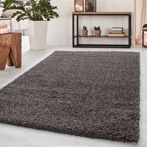 Teppich Hochflor Teppich Dream Shaggy Teppich einfarbig wohnzimmer Teppich, Farbe:TAUPE,60 cm x 110 cm