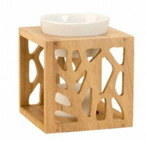 GKA Duftlampe Verdunster Holz Keramik für ätherische Duftöle Teelichter Duftstövchen Duftöl Duft Holzgestell