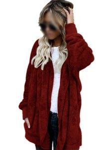 Plus Size Damen Kapuze Strickjacke Winter warme Kunstpelz Mantel,Farbe: Rotwein,Größe:S