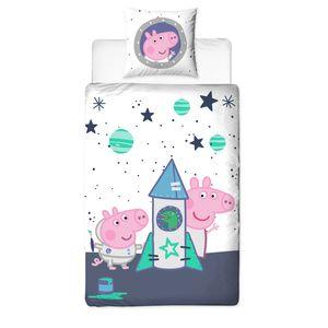 Peppa Pig & George Bettwäsche 80x80 + 135x200 cm · Peppa Wutz Kinder-Bettwäsche in Flanell / Biber - 100% Baumwolle