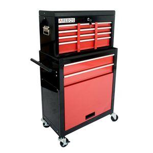 AREBOS Werkstattwagen Werkzeugwagen Rollwagen  9 Fächer Rot/Schwarz - direkt vom Hersteller