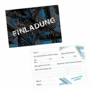 5 coole Einladungskarten Trash blau schwarz inkl. 5 transparenten Briefumschlägen Kindergeburtstag Junge Teenager Einlad