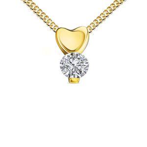 Goldkette Anhänger 585 Gelbgold 14 Karat mit Herz und Zirkonia-Stein Mit Halskette  - Kettenlänge 50 cm.