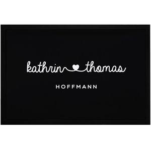Fußmatte mit Vornamen Familienname Herz Nachname personalisierbar rutschfest & waschbar SpecialMe® weiß 60x40cm
