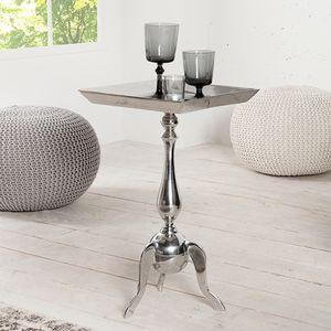 Filigraner Beistelltisch TRAYFUL 35cm silber Aluminium Tablett-Tisch Wohnzimmertisch Kaffeetisch Couchtisch