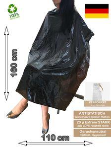 Einweg Friseurumhang XXL 160 x 110 cm Schwarz Recycelbar EXTRA STARK 20µ Perforiert Antistatisch  40 Stück