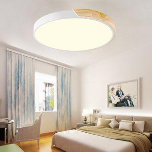 Natsen 36W LED Deckenleuchte runde Deckenlampe dimmbar mit Fernbedienung LED Flurlampe Küchelampe Wohnzimmer Schlafzimmer Büro (Holz & Metall) [Energieklasse A++]