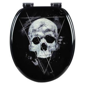 WOLTU Toilettensitz MDF mit Absenkautomatik Skull Black